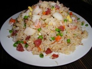 Vietnamese seafood fried rice plate