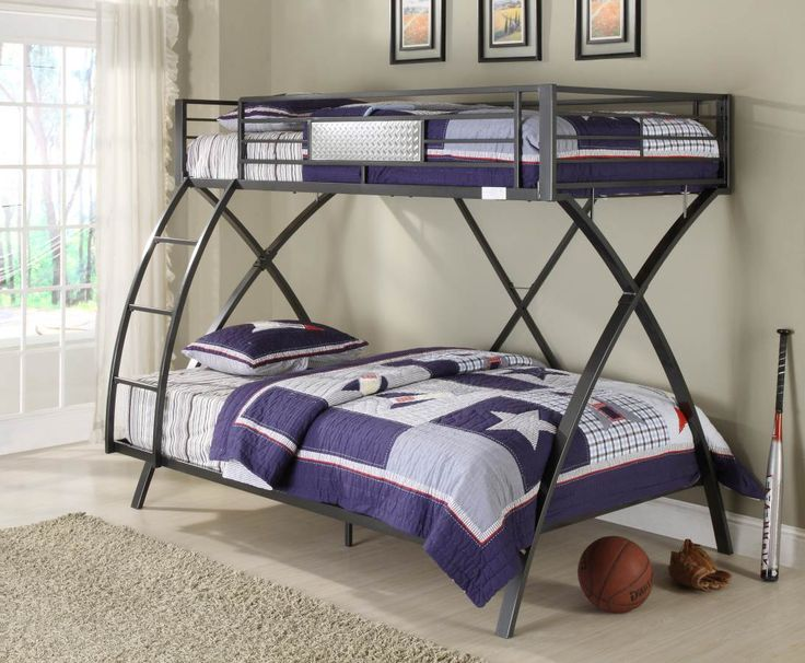 spaced out gray metal twinfull bunk bed