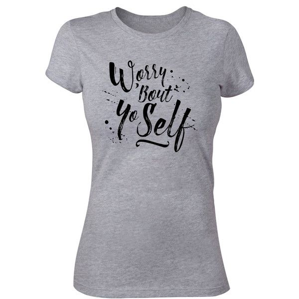Worry Bout Yo Self Funny Sarcastic Tee Soft Woman's T Shirt Triblend ($23) ❤ liked on Polyvore featuring tops, t-shirts, silver, women's clothing, vinyl top, boxy tee, unisex t shirts, unisex tops and boxy tops