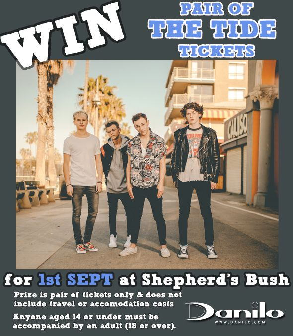 1 DAY ONLY - NEW #Competition to #WIN pair of #TheTide tickets for 1st September at 02 Shepherds Bush Empire in London. Enter TODAY before 4:30pm to be in with a chance at http://bit.ly/DaniloComps