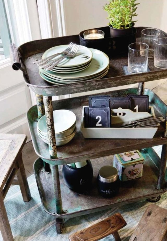 Best Dressed Bar Carts: Rustic Beverage Cart. Probably pretty easy to make... Cookie sheets and plumbing pipes?