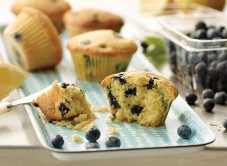 Muffins à la semoule de maïs au citron et aux bleuets recette | Plaisirs laitiers