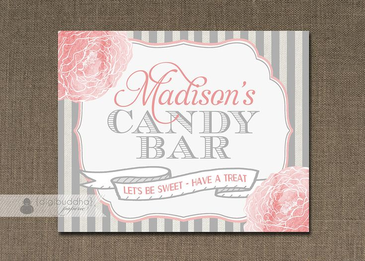 Blush Pink Amp Gray Candy Bar Sign Baptism Girl Baby Shower