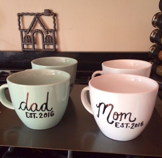 Sprinkle Shower, DIY mugs for mommy to be, work shower. Site also includes DIY diaper cake, mommy survival kit