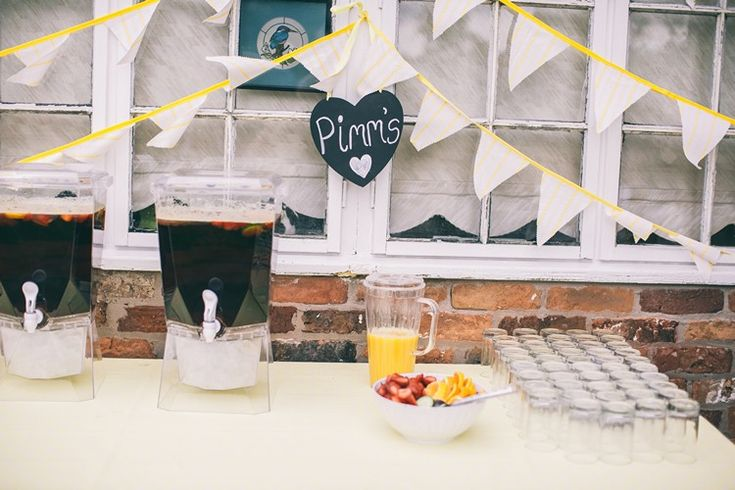 Pimms Drinks Station Bar Bohemian Home Made Farm Wedding http://www.jessyarwood.co.uk/