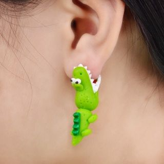 Adorable crocodile earrings.  100% polymer clay Zinc Alloy ear pins Set of two earrings Free Worldwide Shipping  100% Money-back guarantee