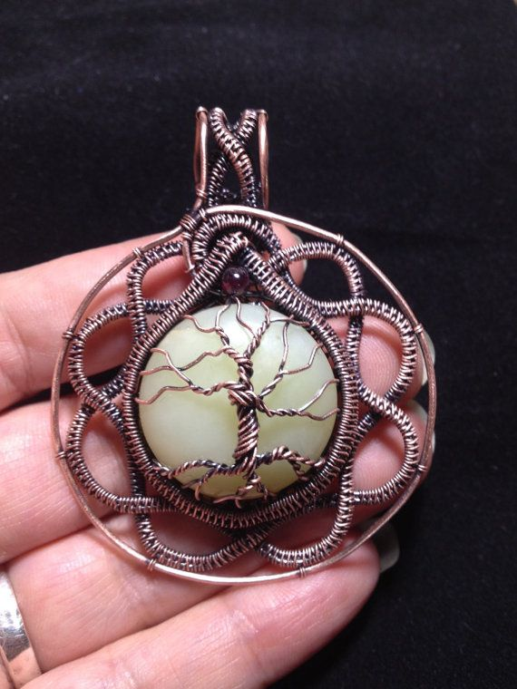 Serpentine with Garnet Celtic Knot Tree Of Life pendant, necklace