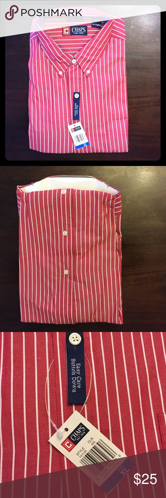 Men's Brand New Button Up Collared Chaps  Shirt Brand new with tags Men's size XL Chaps Button Up collared shirt. Chaps Shirts Dress Shirts