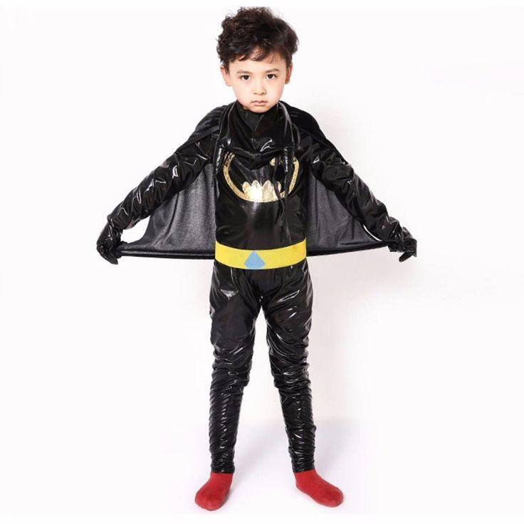 Kids Batman Costume Black Hooded Jumpsuit