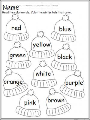 Free winter hats coloring activity that provides practice with color words.