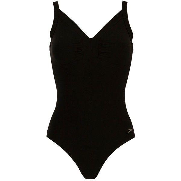 Speedo Sculpture Watergem 1 Piece Swimsuit, Black (£32) ❤ liked on Polyvore