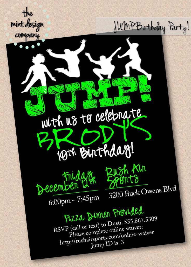Trampoline park birthday parties are all the rage! Send us a message so we can jump on your invitation order today! www.themintdesigncompany.com