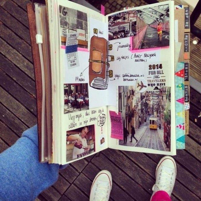 Quaderno di viaggio e un'idea per la decorazione, collage di foto e disegni artistici originali