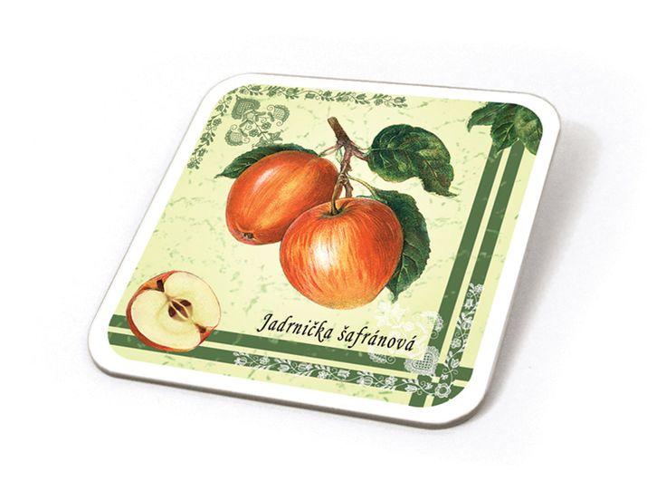 Podtácek ze sady 6 ks, kresba jablka odrůdy Jadrnička šafránová