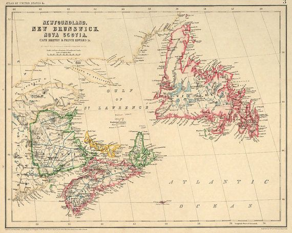 New Brunswick map Newfoundland map Nova Scotia by AncientShades