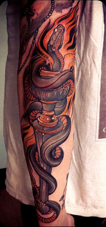 Snake tattoo done by Eckel.   Tattoo ideas   Tattoos, Fire ...