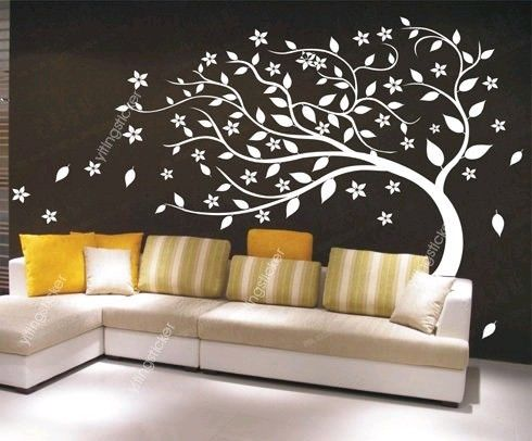 Wind blown tree in art deco style// wouldn't want this in my living room I don't think, but I like the dark gray and yellow and the tree is cool .