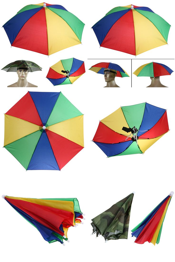 [Visit to Buy] Hands Free Portable 55cm Usefull Umbrella Hat Sun Shade Camping Fishing Hiking Festivals Outdoor Brolly 2 Colors #Advertisement