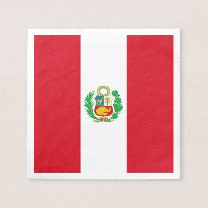 Patriotic paper napkins with Peru flag - home gifts ideas decor special unique custom individual customized individualized