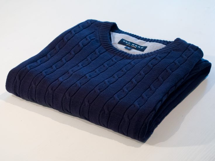 Navy cable crewneck sweater