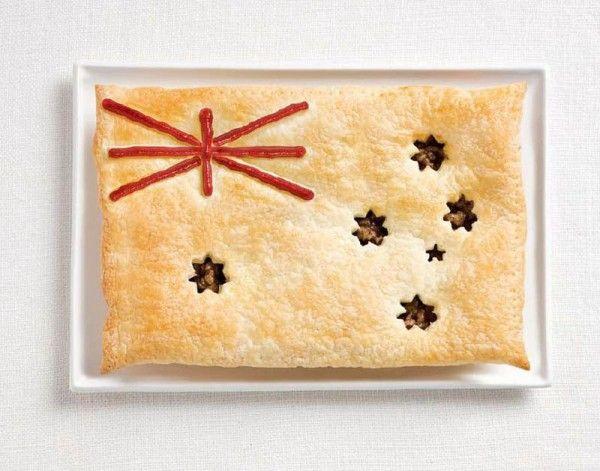 YUM! Meat pie and sauce Aussie flag. (No tutorial unfortunately...)