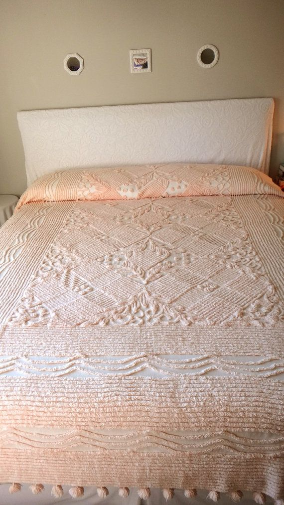 Vintage Chenille Bedspread Romantic Peach with by ChenilleAmour on Etsy, $65.00