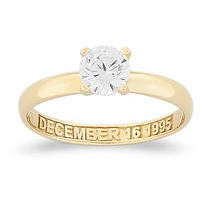 SCULPTED STERLING Gold over Sterling CZ Solitaire Personalized Engagement Ring