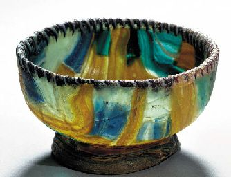A GREEK STRIPED MOSAIC GLASS BOWL HELLENISTIC PERIOD, CIRCA EARLY 1ST CENTURY B.C.