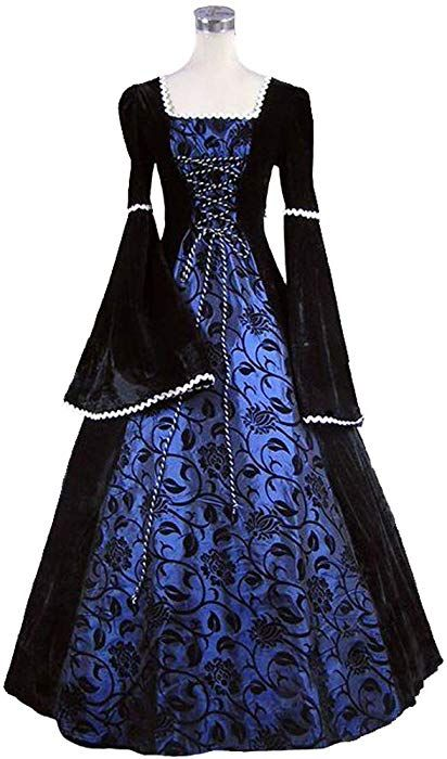 67773dfd79def Suky Lady Guinevere Medieval Renaissance Queen Arwen Fairytale Dress  Halloween Costume (XL, Blue)