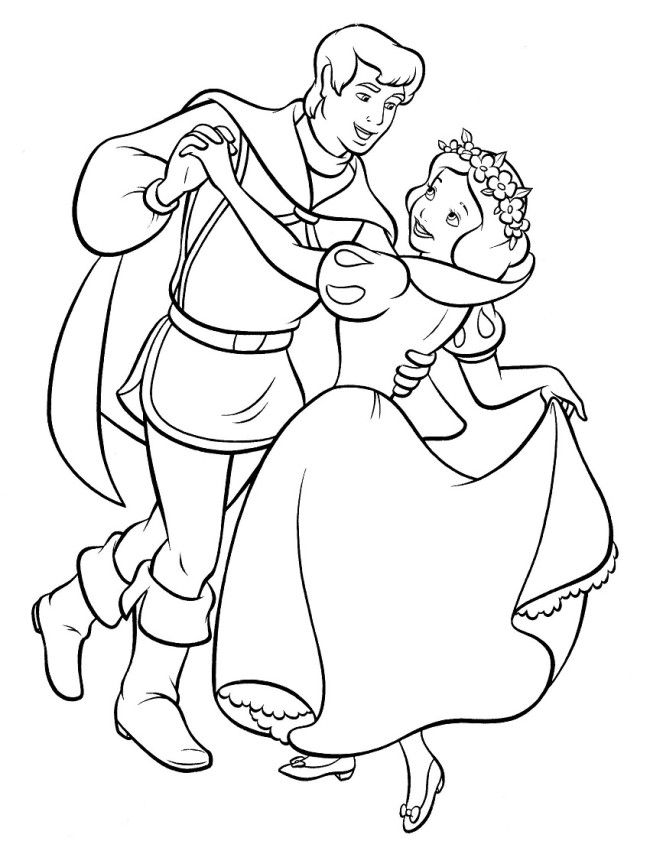 snow white with prince charming coloring page