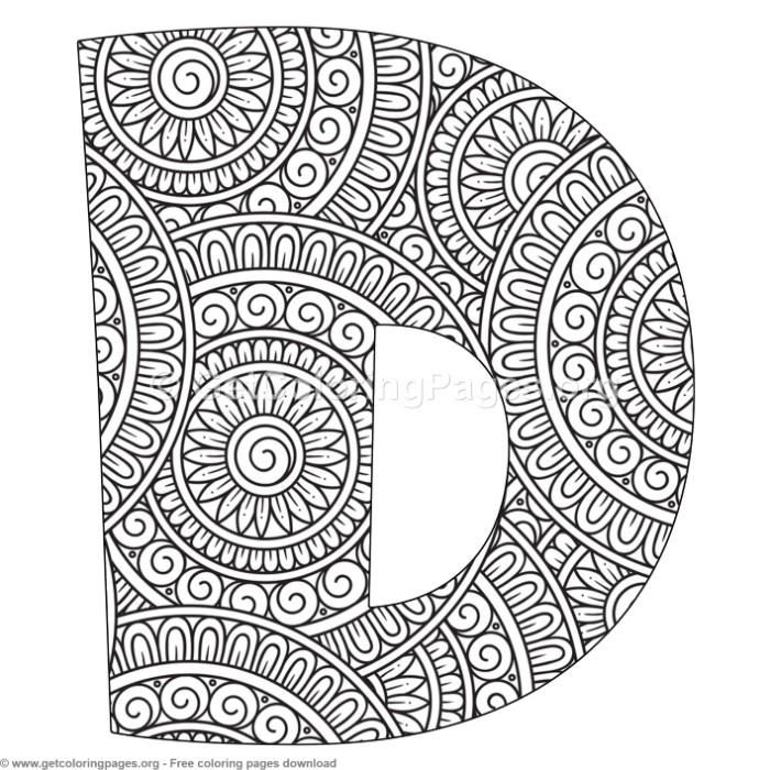 Mandala Alphabet Letters D Coloring Pages Free Instant
