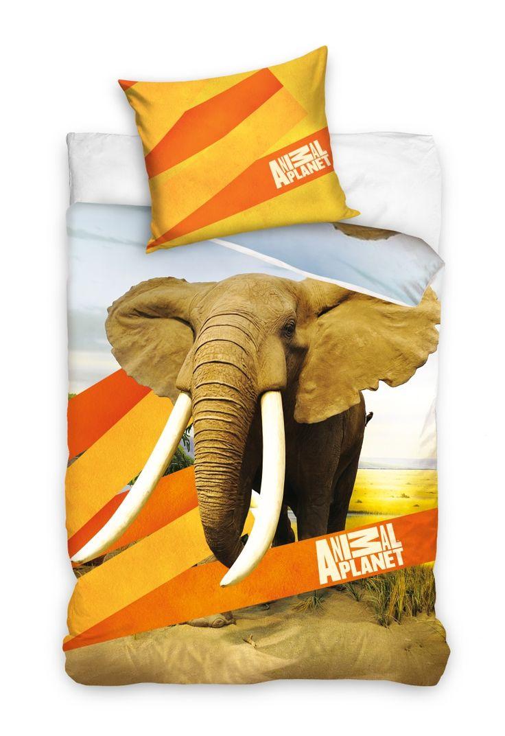 Pomarańczowa pościel bawełniana ze słoniem