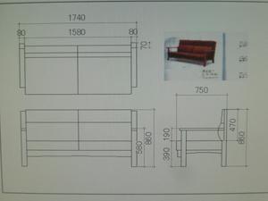 CADで家具図(三面図)を作成。