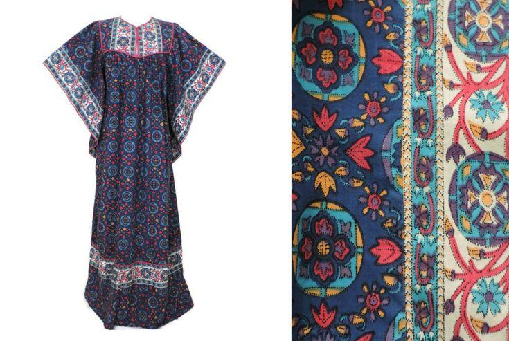 Vintage 1960s Floral KAFTAN DRESS, Muu Muu Dress, Indian ...