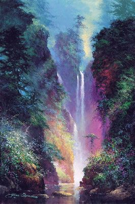 Beautiful Water Fall Scenery Wallpapers Mystical Paradise Art And Paintings By Artists Wyland