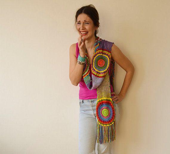Multicolor Crocheted Circle Scarf, Light Silky Yarn