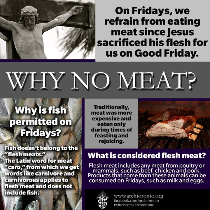 No meat on Fridays--on Fridays that do not occur in Lent, you are allowed to eat meat IF you give something else up in its place.