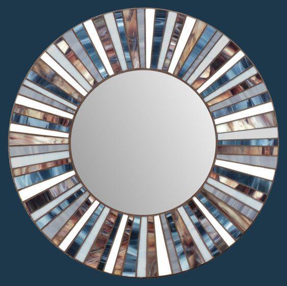 Espejo de mosaico de vidrio por MIRRORMONTAGES en Etsy                                                                                                                                                                                 Más