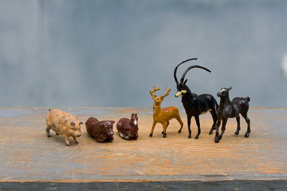 Collection of J Hill Co Animals -  Antique Lead Figurines, Made in England