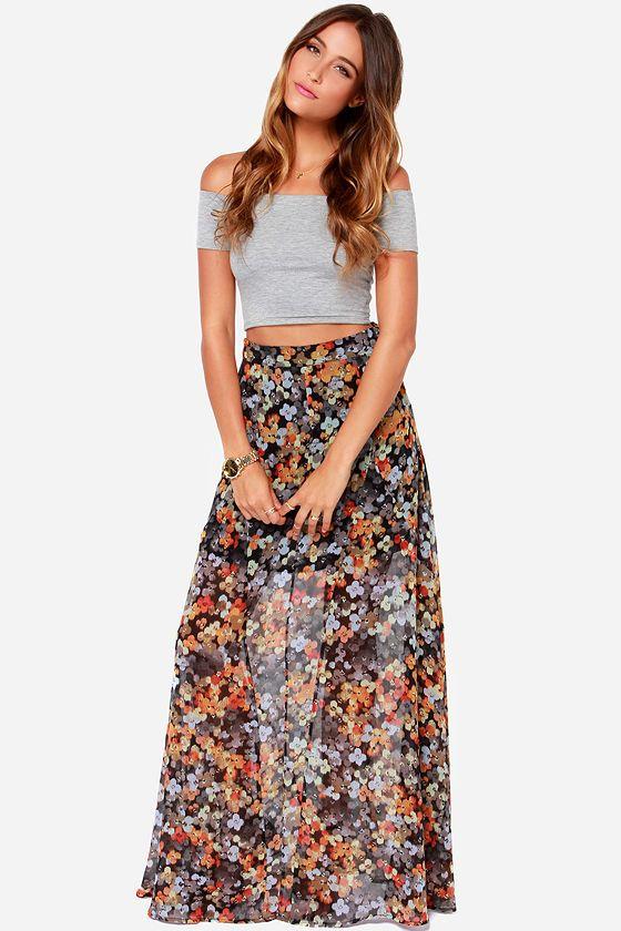 Dark floral maxi skirt – Modern skirts blog for you