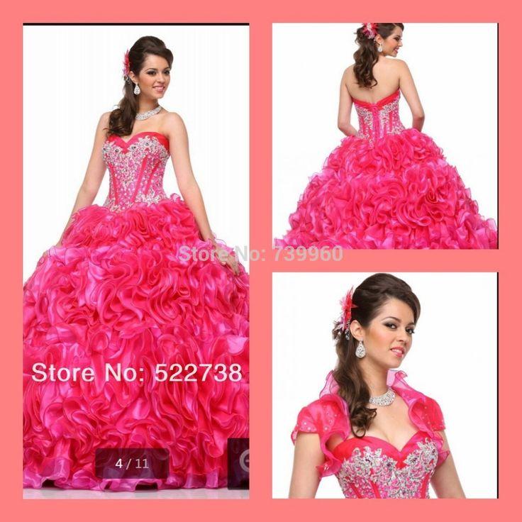 Пышное платье сладкие 16 роскошный розовый 2015 длинное платье 15 лет бал-маскарад платья vestidos Quinceanera