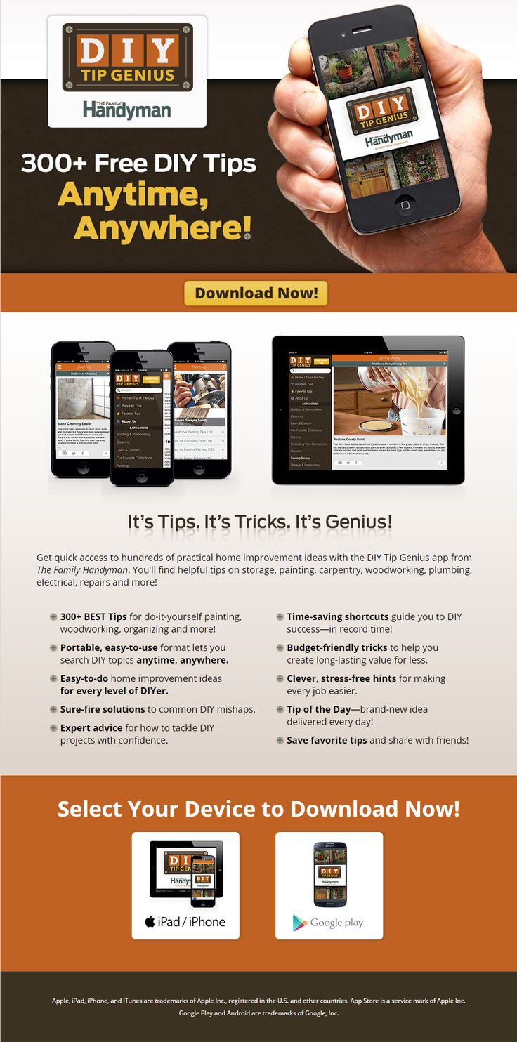 The ultimate #DIY #app From the publishers of The Family Handyman Magazine. This app offers clever ideas and pro secrets that save time, money or hassles, and that make the difference between a poorly done project and one you're proud of. https://itunes.apple.com/us/app/family-handyman-diy-tip-genius/id719185892?ls=1&mt=8