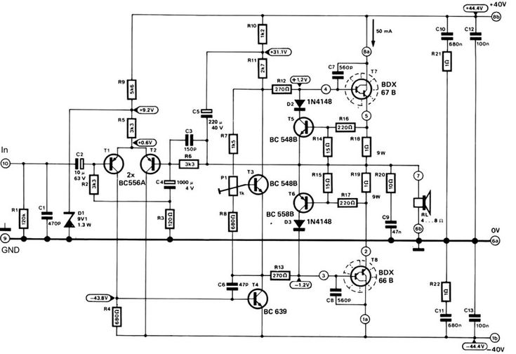 the electronic circuit of the 100w audio amplifier