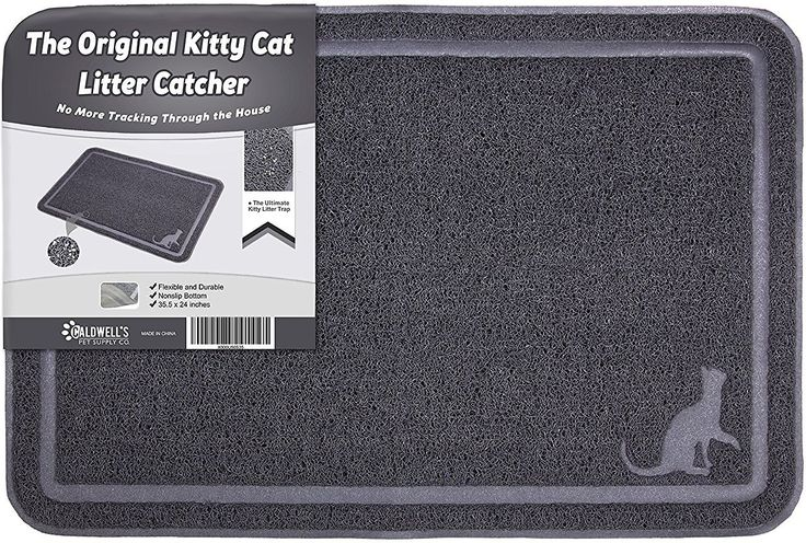 Caldwell's Original Cat Litter Mat keeps you from stepping on stray litter. This extra-large mat is made with super-thick PVC to catch any litter that's flung out of the box, keeping it from reaching your floors. The plastic material also makes this accessory easy to clean, just shake it out or give it a quick vacuum for tidying up, or soap up and rinse down when it needs a deep cleaning. Plus, the ultra-strong material is non-toxic, non-allergenic and impossible for your kitty to claw up...