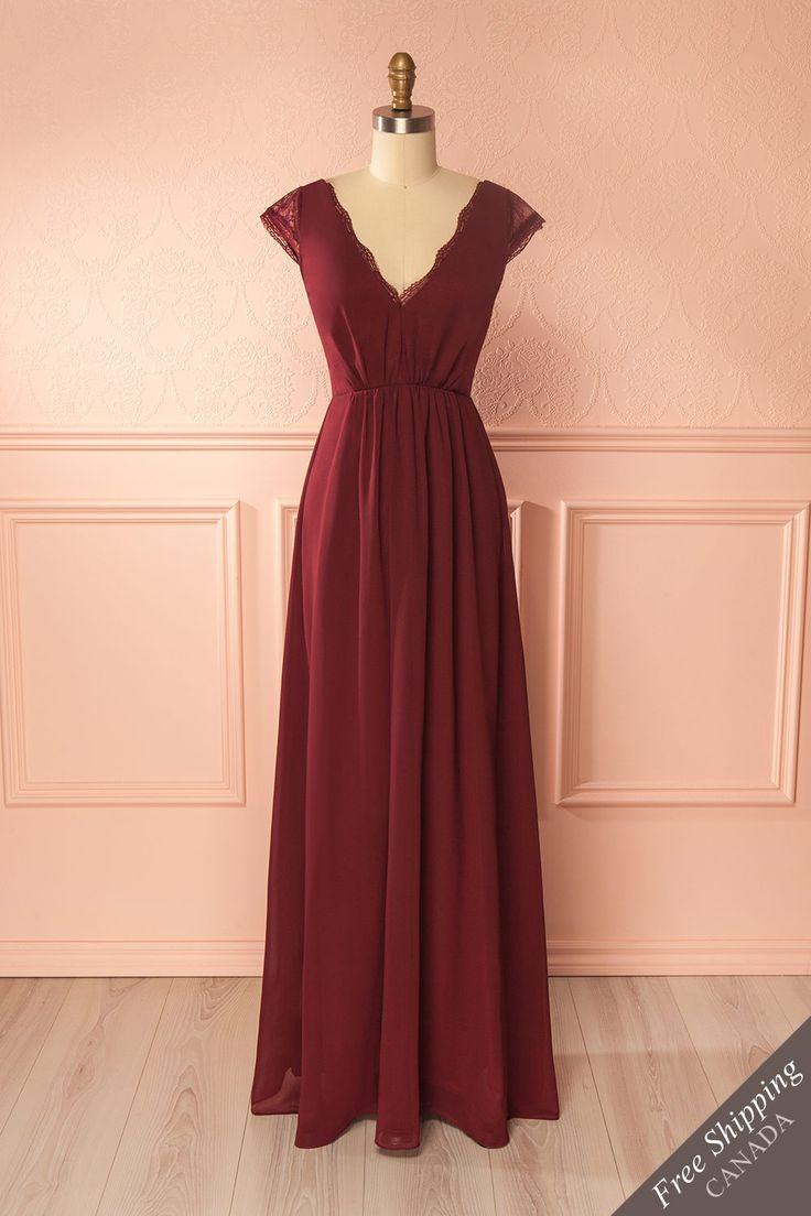 Burgundy lace detail chiffon gown - Robe longue de chiffon bourgogne à détails de dentelle