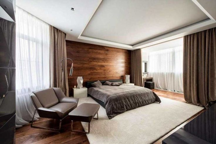 Interior-Design-Ideas-for-Bedroom--with-wooden-wall-design-idea-also-wide-window-witdh-cream-cyrtain-then-black-platform-with-gray-bed-also-awesome-gray-leather-sofa-bed-room