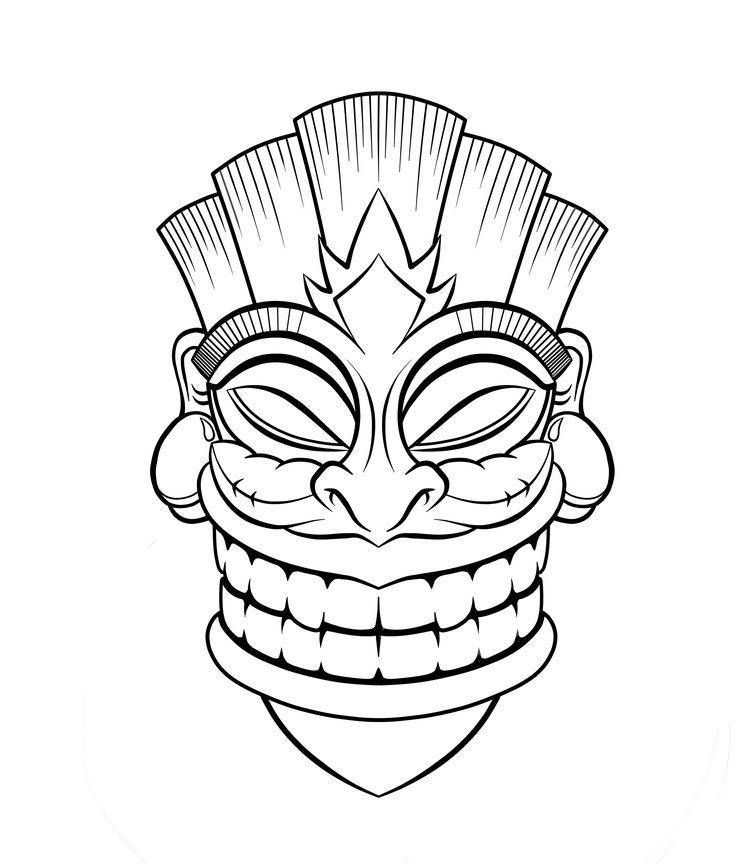 aztec mask coloring pages | Masque maya Super Coloring Dessin Mayan mask Aztec mask