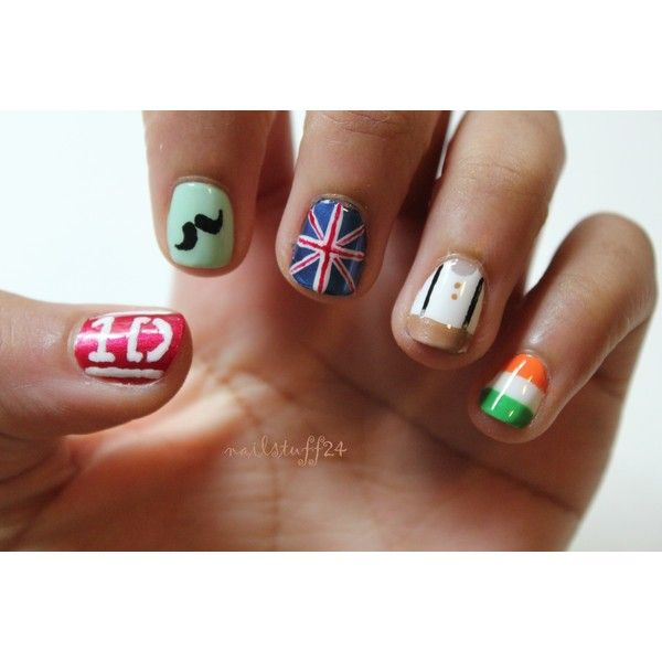 one direction nails ❤ liked on Polyvore