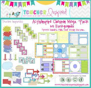 CHEVRON THEME - ActivInspire Backgrounds, buttons, graphic organizers, and more!