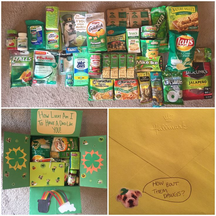 Care package for dad, St. Patrick's Day, Air Force, green